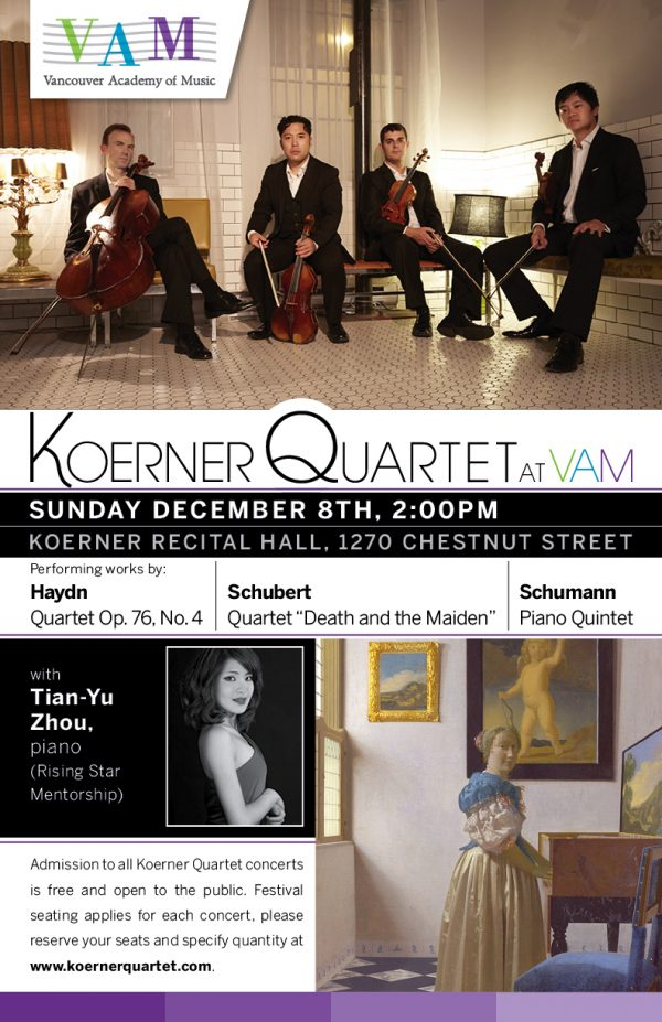 Koerner Quartet with Tian-Yu Zhou, piano - Dec 8